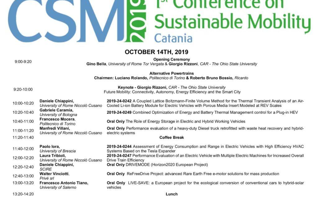 Il progetto LIFE-SAVE presentato a Catania alla 1st Conference on Sustainable Mobility (CSM2019)